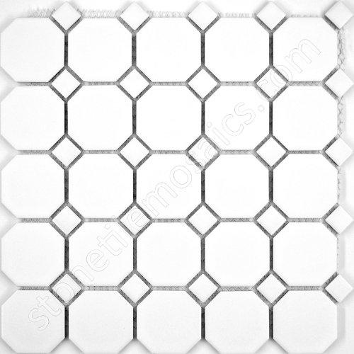 - Octagon Porcelain Mosaic Tile Matte White with Matte White Dots (Box of 5 sq. ft.)