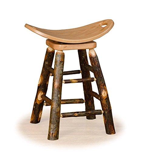 Hickory Rustic Bar Stool - Furniture Barn USA Rustic Hickory Swivel Saddle Stool - Counter Height
