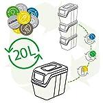 Wellhome-Prosperplast-Juego-de-3-Cubos-Capacidad-de-60-litros-en-Color-39x23x33-cm-con-3-Bolsas-de-Reciclaje-para-Exterior-AntracitaBlanco-62-75-litros-totales