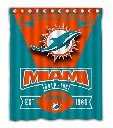 Weckim Custom Miami Football Team Waterproof Fabric Shower Curtain Colorful Design for Bathroom Decoration Size 60x72 Inches