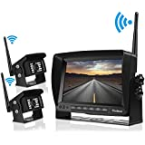 Digital Wirelss Backup Camera System Kit for RV, trailer, IP69 Waterproof IR Super Night Vision No Interference Dual Built-in Rear View Cameras & 7'' Split Reversing Monitor for Truck, Motorhome