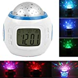 Alarm Clock Children Sleep Clock Color Change Starry Night Sky Star Projection Music Digital Clock With Backlight Led Nigh Light Calendar Thermometer for Children Kids Baby Boys Girls Bedroom
