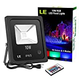 LE 10W RGB LED Flood Lights, Outdoor Color Changing LED Security Light, 16 Colors & 4 Modes with Remote Control, IP65 Waterproof LED Floodlight, US 3-Plug, Wall Washer Light