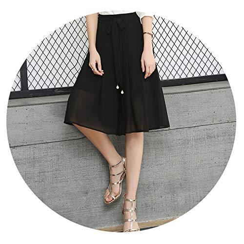 New Black Chiffon Loose Wide Leg Pants Five Pants Elastic High Waist Culottes Divided Skirt 5XL,Black,S