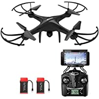 AMZtronics Drone with Camera, A15W 2.4Ghz Wireless FPV RC Quadcopter Drone with Altitude Hold Function, 3D Flips, One-Key Taking Off/Landing, HD WiFi Camera(TF Card & Card Reader Included)