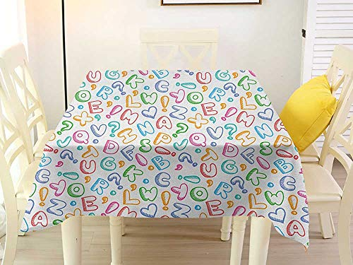 L'sWOW Square Tablecloth Southwest Alphabet Chubby Letters in Fun Colors Kids Scribble Style ABC Symbols Hearts Comics Art Multicolor Patio 50 x 50 Inch
