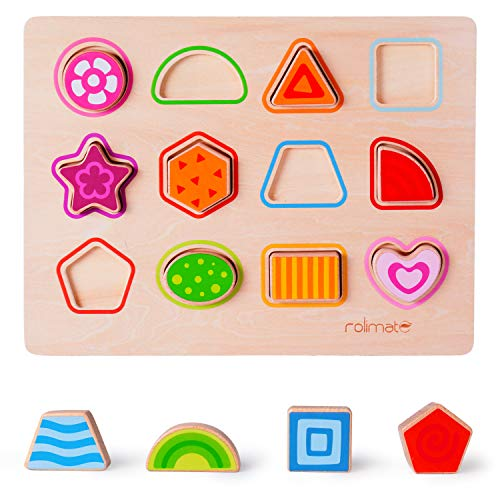 rolimate Wooden Shape Puzzle for 1 2 3 Yeas Old Boy Girl Learning Games Wooden Shape Recognition Geometric Board Preschool Learning Toys Educational Toys Developmental Toys for Babies Kids