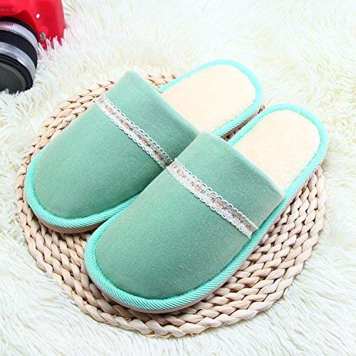 Green JaHGDU Ladies Casual Fall and Winter Keep Warm Slipper Indoor Home Villus Cotton Slippers for Women Pink Green Red