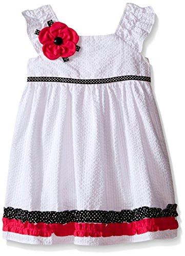 Rare Editions Little Girls W Seersucker Dress, White, 6