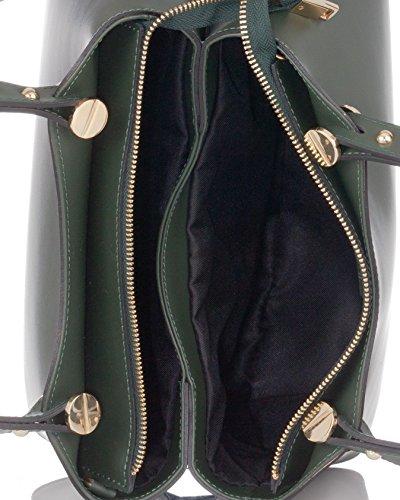 Laura Moretti - Bolso de piel con detalle decorativo en forma de cabeza de tornillo estilo TOTE Verde