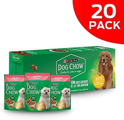 DOG CHOW alimento húmedo adultos pavo paquete con 20 Pzas 8