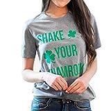 Nihewoo St. Patrick's Day Irish Shamrock T-Shirt Women Round Neck Plaid Print Tee Short Sleeve Tops Gray