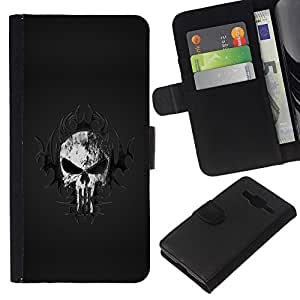 Planetar® Colorful Pattern Flip Wallet Leather Holster Protective Skin Case Cover For Samsung Galaxy Core Prime / SM-G360 ( Tribal Skull )