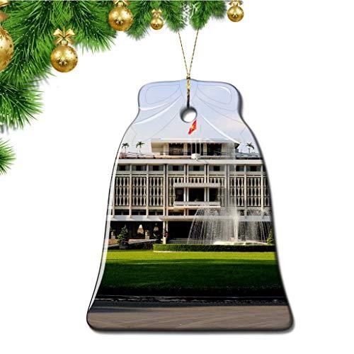 Hqiyaols Ornament Vietnam Reunification Palace Ho Chi Minh Christmas Ornaments Bell Shape Ceramic Sheet Souvenir Travel Gift Tree Door Window Ceiling Pendant Decorative Hanging