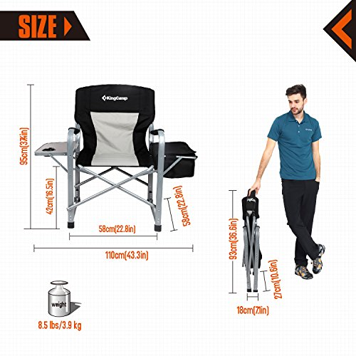 KingCamp Heavy Duty Steel Folding Chair / Director's Chair with Cooler Bag and Side Table