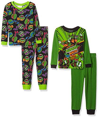 Four Ninja Turtles (Nickelodeon Little Boys' Tmnt 4-Piece Cotton Pajama Set, Ninja Mode, 6)