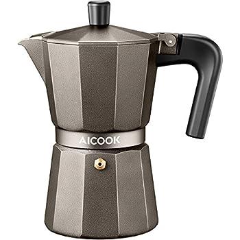 AICOOK Moka Pot Espresso Maker Coffee For Gas Or Electric Ceramic Stovetop 6 Cups Shot Italian Cappuccino And Latte