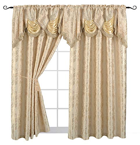 Valance Jacquard Curtain - Venice Collections Luxury Jacquard Curtain Panel with Attached Waterfall Valance, 54 by 84-Inch Arlene Beige