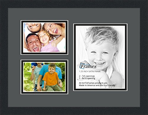 Art to Frames Double-Multimat-1128-41/89-FRBW26079 Collage Photo Frame Double Mat with 1 - 8x10 and 2 - 5x7 Openings and Satin Black Frame