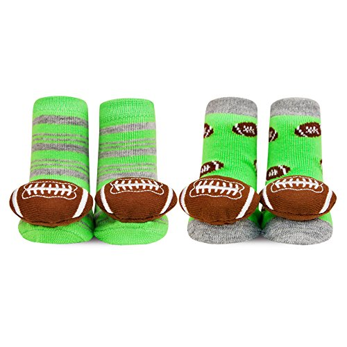 Waddle 2 Pack Baby Boy Designer Baby Socks Football Green Rattles 0-12 (Football Rattle)