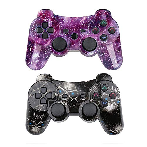 - PS3 Controller Wireless SIXAXIS Double Shock Gamepad for Playstation 3 Remote, 2 Pack with PS3 Controller Charger Cable (Black Ghost+Starry Sky)