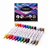 Permanent Paint Marker Pen - Medium Point - Aluminum Pen Body - Oil-based - Fine Tip Markers for Glass Painting , Ceramic , Rock , Metal , Wood , Fabric , Canvas , Set of 12 Colors