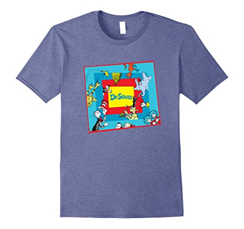 Mens Dr. Seuss Character T-Shirt 3XL Heather Blue -