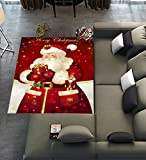 Floor Rugs Mat,Custom Merry christmas Dreamlike the Santa Claus Area Rugs Carpet Modern Carpet for Home Dining Room Playroom Living Room Decoration Size 7'x5′ For Sale