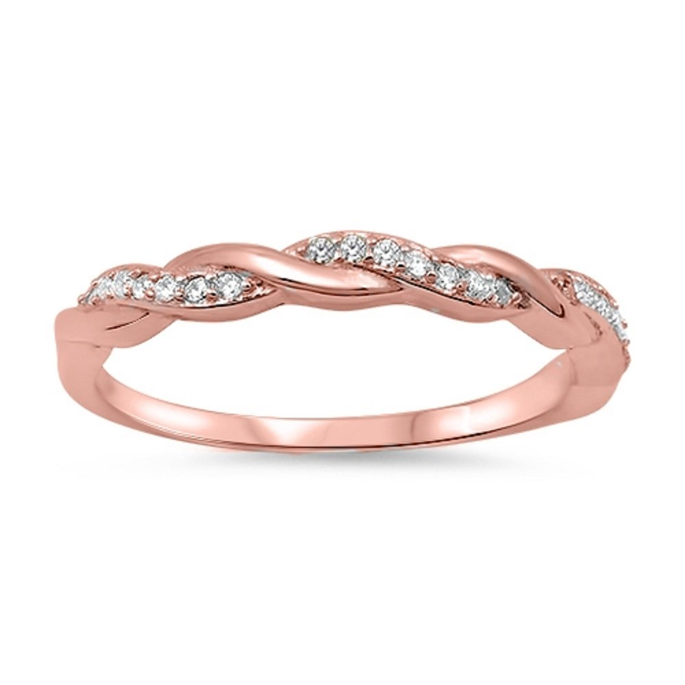 CloseoutWarehouse Clear Cubic Zirconia Half Way Braided Band Ring Rose Gold-Tone Plated Sterling Silver Size 5 by CloseoutWarehouse (Image #1)