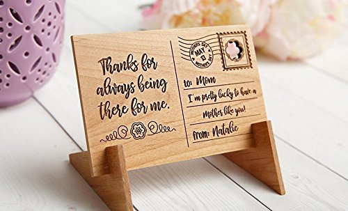 Qualtry Personalized Wooden Postcard for Mom with Display Holder Stand - Great for Mom and Grandma (Natalie Design)