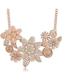 Peach Pink Choker Necklace Fashion Flower Bubble Bib Chain Statement Necklaces for Women