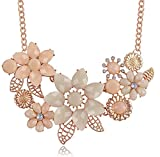 iWenSheng Peach Pink Choker Necklace Fashion Flower Bubble Bib Chain Statement Necklaces for Women