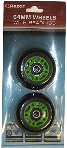 GREEN Genuine RAZOR Replacement 64mm for PowerWing/RipRider 360 Rear Wheel Set