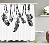 Apartment Decor Shower Curtain Set By Ambesonne, Native American Tribal Feathers Indian Spiritual Icon For Wisdom And Strength Graphic, Bathroom Accessories, 69W X 70L Inches, Black White