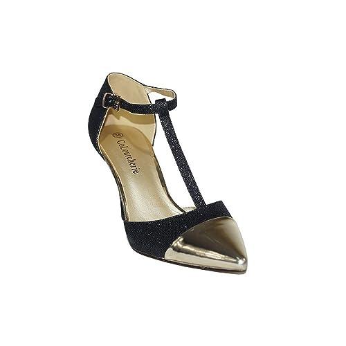 75da456961 COLOURCHERIE - Zapato Tacón Fiesta Mujer Oro KA016 Zapatos Tacón Fiesta  Mujer Elegante Salón Stiletto Tacón Aguja Color Dorado Negro Plata:  Amazon.es: ...
