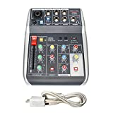 Phenyx Pro 4-Channel Audio USB Mixer, 4-Input, 3-Band EQ, Compact Size With Effects And USB Audio Interface To Computer/PC, Ideal for Home Recording, Small Gigs, Live Music (PTX-10)