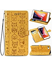 """EnjoyCase Funny Cartoon Embossing Cat Dog Pattern Pu Leather Cat Paw Magnetic Closure Lanyard Standfunction Card Slots Wallet Flip Case Cover for iPhone 8/7 4.7"""""""