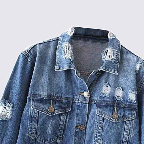 Vintage Lunga Blau Di Giubbino Hipster Marca Jacket Primaverile Jeans tasca Con Donna Manica Mode Chiusura Outerwear Elegante Casual b Giubotto Fashion Multi Giaccone Bottoni Strappato Autunno 0qXnSrzq