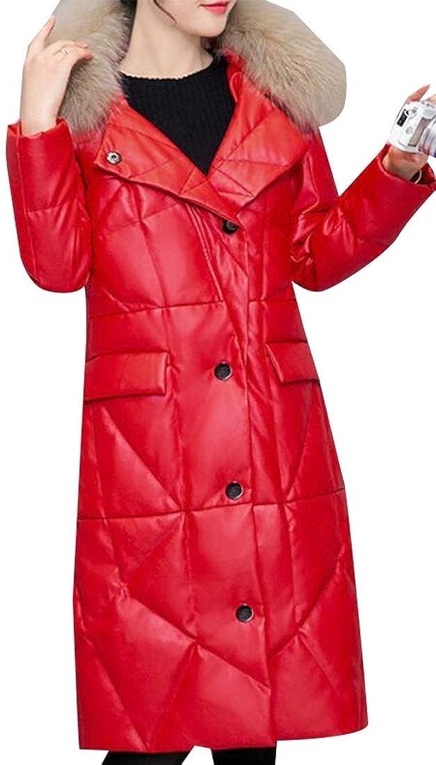2 Generic Women's Winter Down Coat Winter Jacket with Faux Fur Trim Down Overcoat
