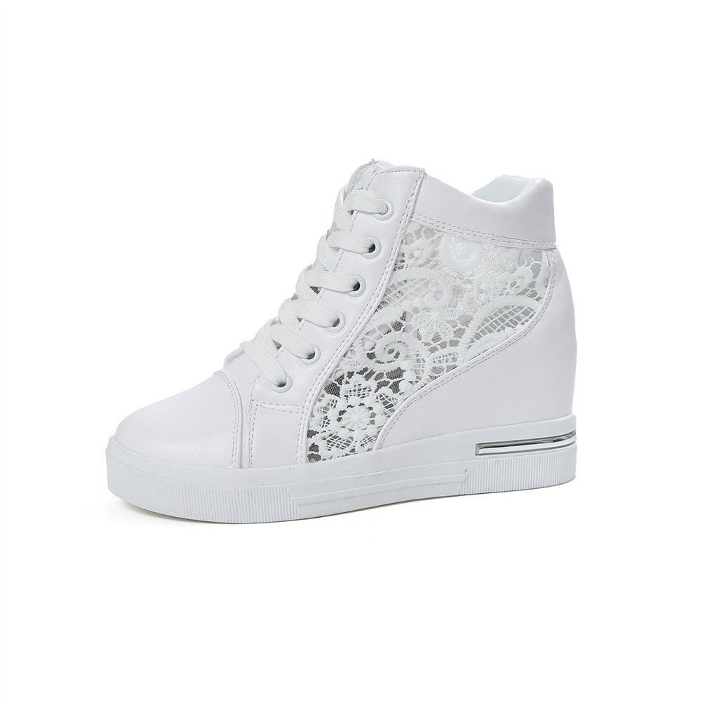 JRenok Chaussures de Sports Femme Loisir Baskets Mode Compensé à Haute 7 CM Creux Motif en Dentelle Casuel Sneakers 35-39