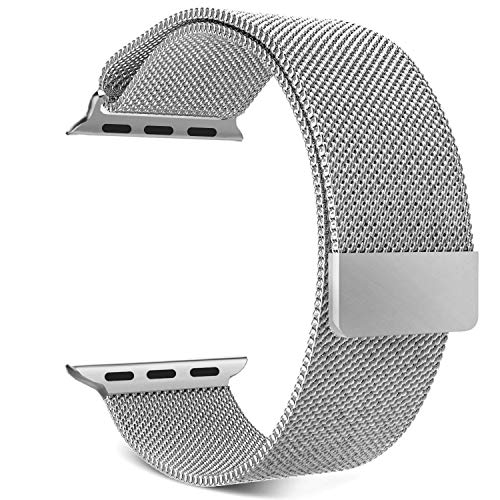 V CAN™ Presents Classy Look Stainless Steel Mesh Milanese Loop Strap Band for iWatch Band/iPhone Watch Series 4/3/2/1 [44MM] - (Silver) (B07RDVWJTR) Amazon Price History, Amazon Price Tracker