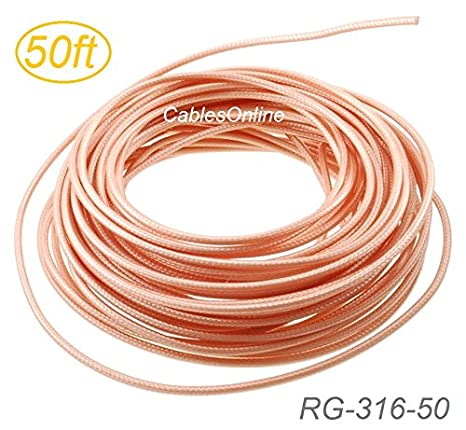 50ft RG316 Bulk 50 Ohm High Temperature Coax Cable, CablesOnline RG-316-50