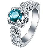 925 Silver White Topaz Aquamarine Gemstone Ring Wedding Engagement Size 6-9 (7)