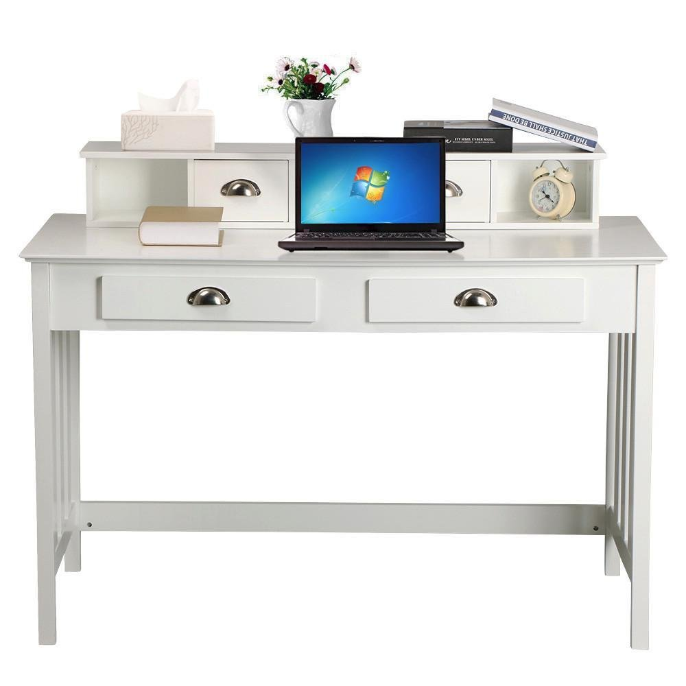 go2buy White Wooden Writing Desk with 4 Drawers Home Office Computer Desk