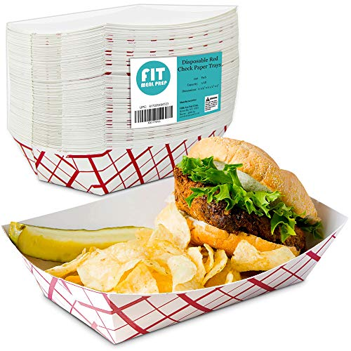 5 lb Heavy Duty Disposable Red Check Paper Food Trays Grease Resistant Fast Food Paperboard Boat Basket for Parties Fairs Picnics Carnivals, Holds Tacos Nachos Fries Hot Corn Dogs [250 Pack] (Boat Basket)