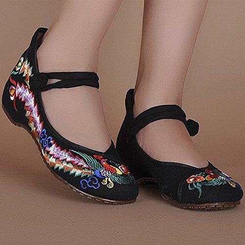 Ligero la Negro Jane Bordado Sandalias la Correa de Mujer Azul se Rojo Negro KINDOYO Zapatos del oras Lona Mary de de Las Z1wgwqO