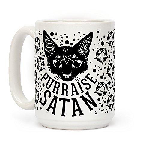 LookHUMAN Purraise Satan White 15 Ounce Ceramic Coffee -