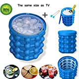 #8: Ice Cube Maker Genie silicone, Ice bucket The Revolutionary Space Saving Ice Cube Maker (Large ice bucket) (4.7x5.5)