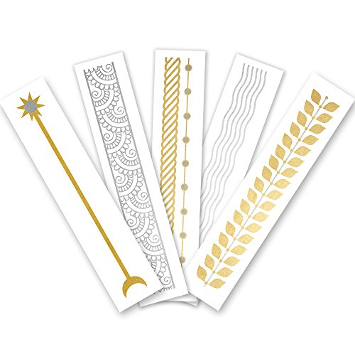 Arm Party Variety Set of 25 assorted premium waterproof bracelet metallic gold & silver jewelry temporary foil party Flash Tattoos, bracelet tattoo, temporary tattoo, party supplies by Flash Tattoos (Image #7)