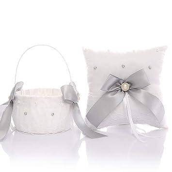 Amazon.com: Juego de almohada y cesta para niña con anillo ...